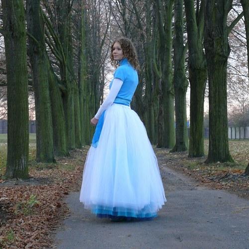 Bílo-modrá tylová sukně
