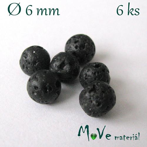 Lávový korálek kulička cca Ø6mm, 6ks