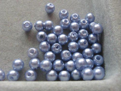 Voskové korálky - světle modrá  5 mm / 30 ks