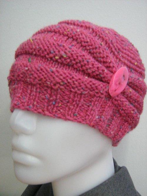 Pletená,  růžová čepice