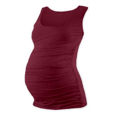 Těhotenské tričko bez rukávu bordó