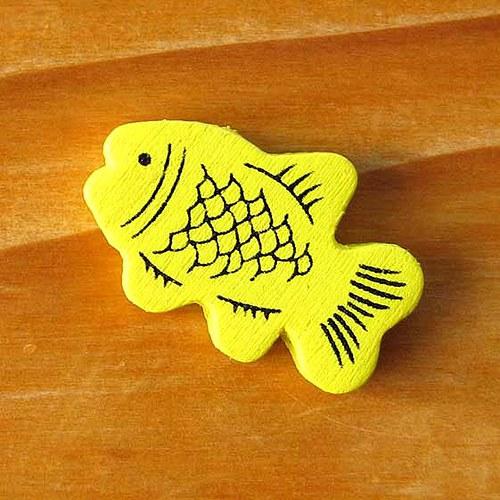 Dřevěná Rybička - 2ks - Žlutá