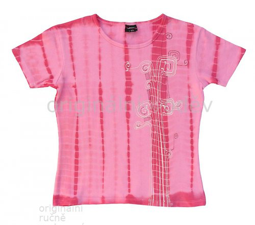 SLEVA: Malované tričko dámské - rostlina - růžové