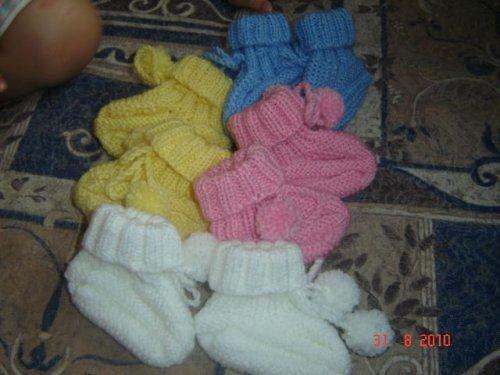 Pletené papučky pro nejmenší