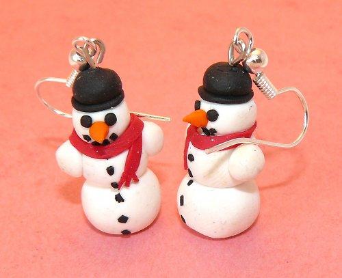 Náušnice sněhuláci s kloboukem
