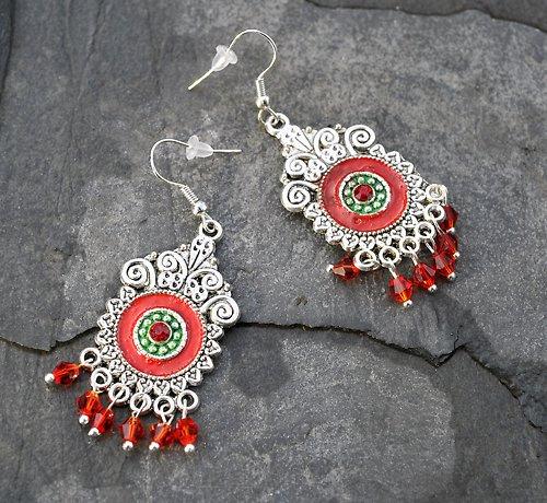 Stříbné naušnice- červený a zelený smalt E0085R