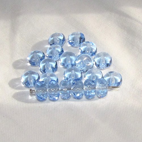Broušené modré korálky 7/4 mm, 20 ks
