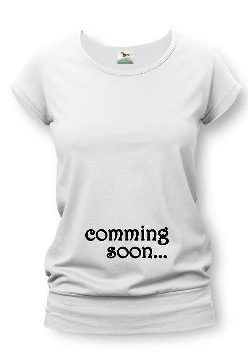 Těhotenské tričko s potiskem comming soon