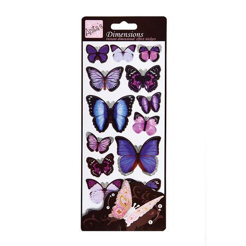 Plastické samolepky DIMENSIONS Motýlí křídla PURPL