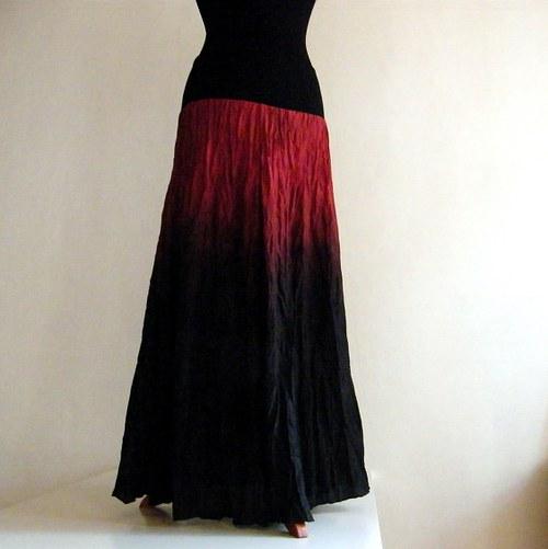 Temná černočervená...dlouhá hedvábná sukně