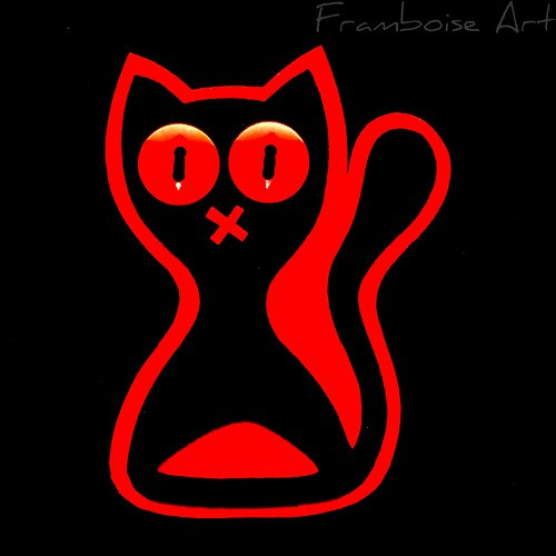 Černo čevená kočka