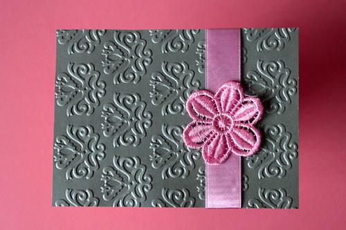 Svadobné oznámenie - strieborno ružové s kvetom