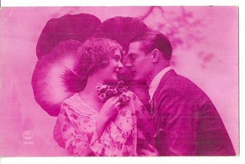 Umělecká pohlednice zamilovaný pár