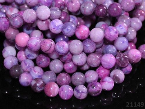 21149 ACHÁT crazy lace fialový kuličky 6mm,  5ks