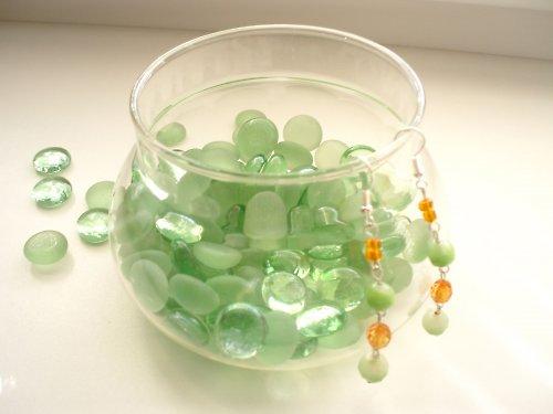 Zeleno - oranžové náušnice