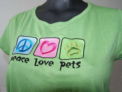 Tričko City+ Peace, love, pets