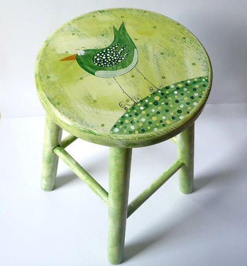 dřevěná stolička velká - zelený Karlík Slavík