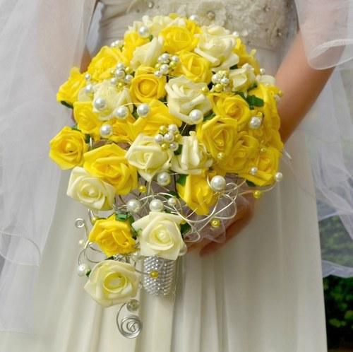 Set svatební kytice Sluneční růže + korsáž+ spona
