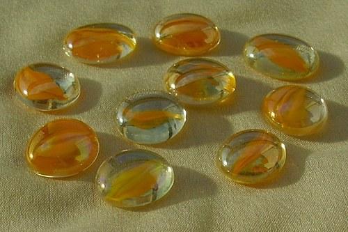 10 ks nugetků-sklo oranžová tulip pokov  BA - 021