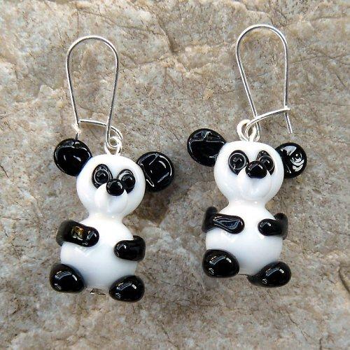 Náušnice medvěd PANDA - vinuté perle
