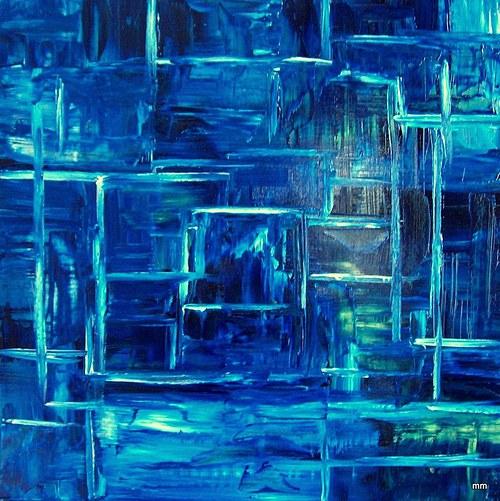 Abstrkce v modrém,