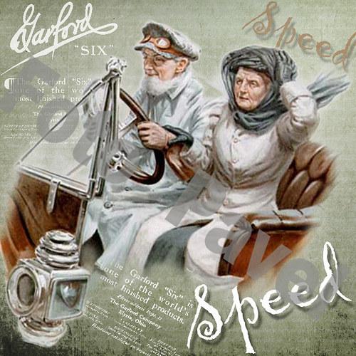 Vintage motiv - rychlé auto