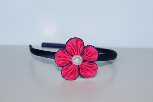 Čelenka plastová - růžovomodrý květ