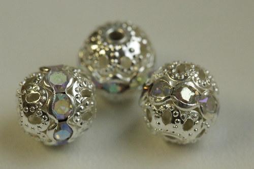 Šatonové kuličky 10mm - crystal AB - 3ks