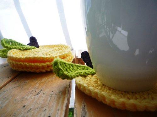 Podložky pod hrníčky - Jablíčko žluté - 4ks