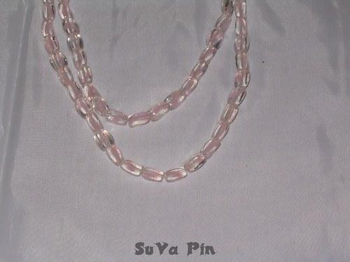 Korálky duhovky kvádr růžový 10x6mm; 19 ks