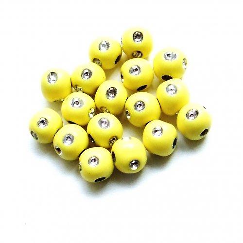 Plastové perličky s kamínky  - žluté