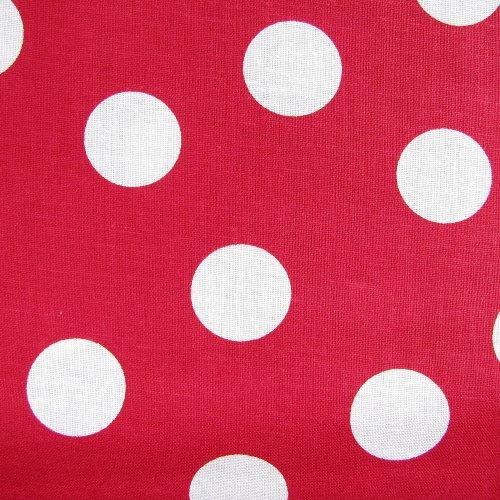 látka 100% bavlna-červená s velkým puntíkem 4 ks