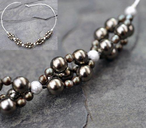 Náhrdelník hnědé perličky N0029B