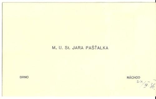 Vizitka Pašťalka Náchod 1938