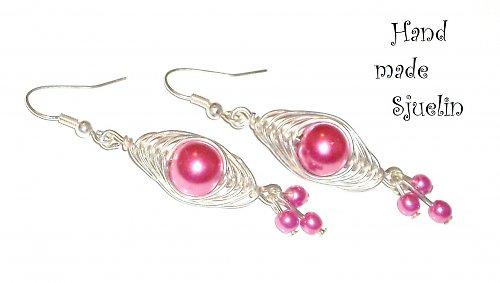 Stříbrné Náušky s Růžovou Perlou