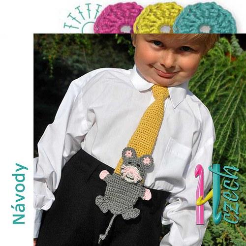 Háčkovaná kravatka myšák