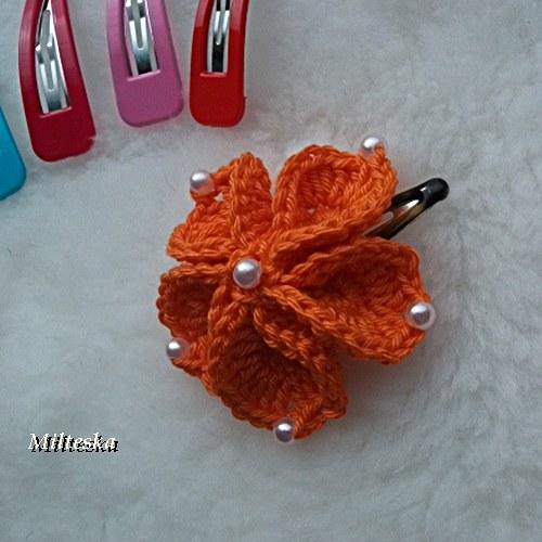 kytička do vlasů s pukačkou-oranžová