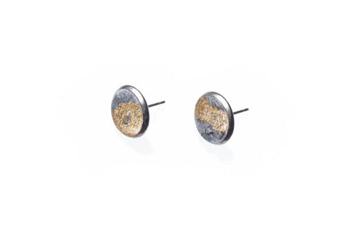 náušnice z chir.oceli, betonu a plátkového zlata