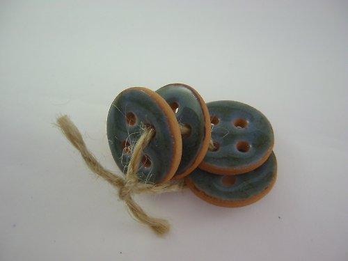 Knoflík  jednoduchý modrozelený