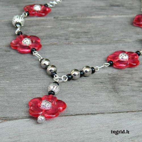 Náhrdelník Růžové květinky
