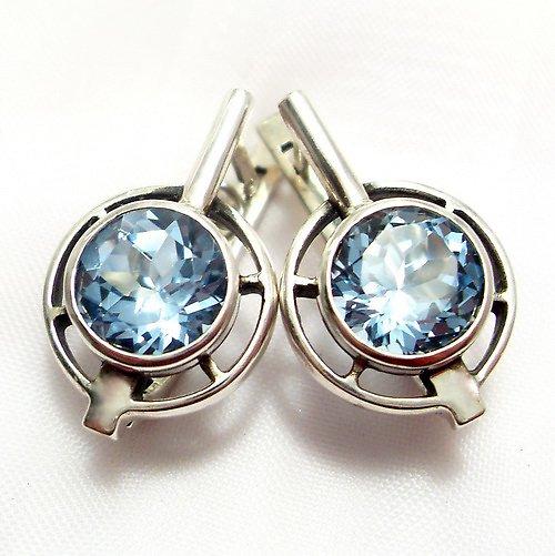 Náušnice «Košík» - stříbro 925, modrý topaz