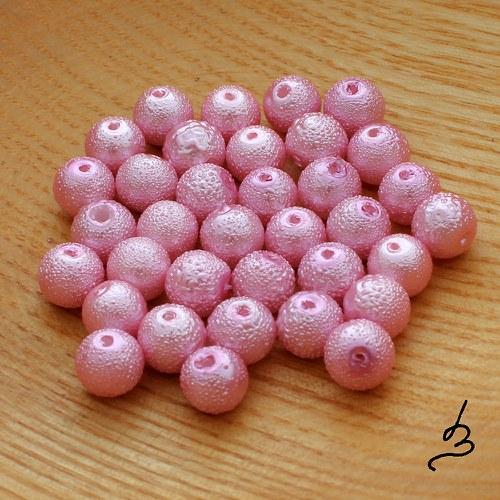 Voskové perle vroubkované růžové 8 mm - 20 ks