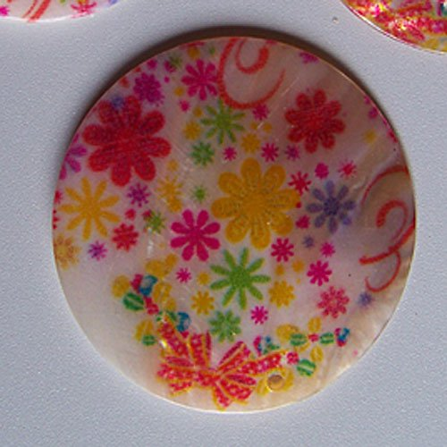 Perleťové malované kolečko tlustší, 5 cm, Kvítí2