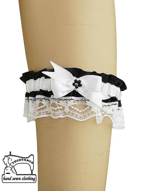 saténový podvazek s krajkou pro sexy prádlo 0510