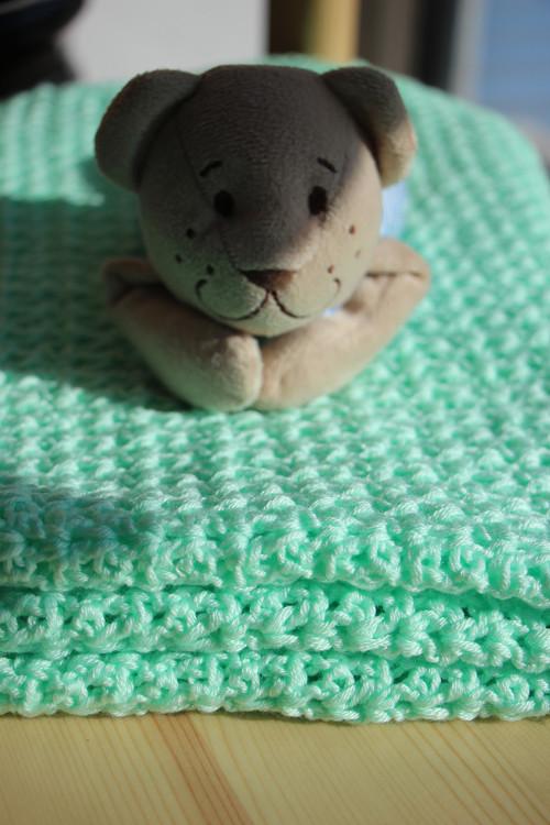 Háčkovaná deka pro chlapečka- Zelenkavá