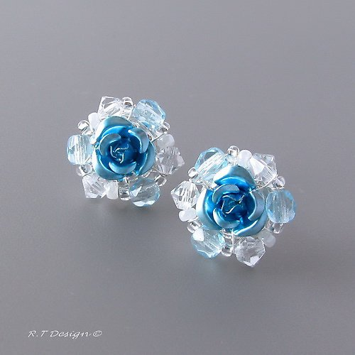 Náušničky Blue Rose...