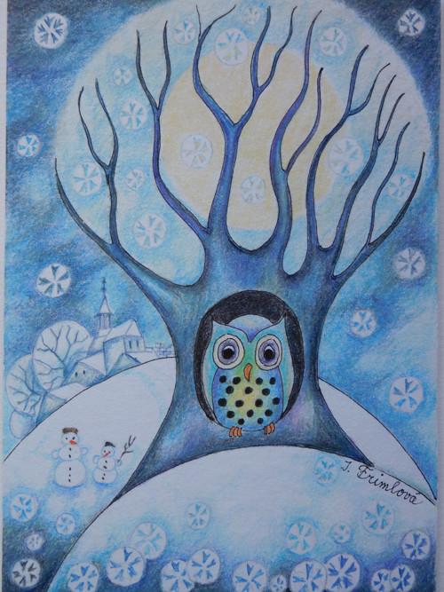 Vánoční sovička - přáníčko
