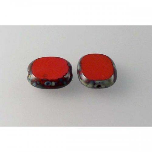 plošk.perla korál s úpravou travertin 14x12 4ks