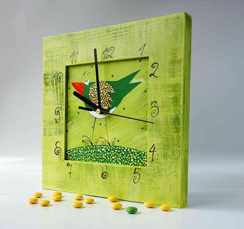 hodiny s kukačkou - zelené s ptáčkem