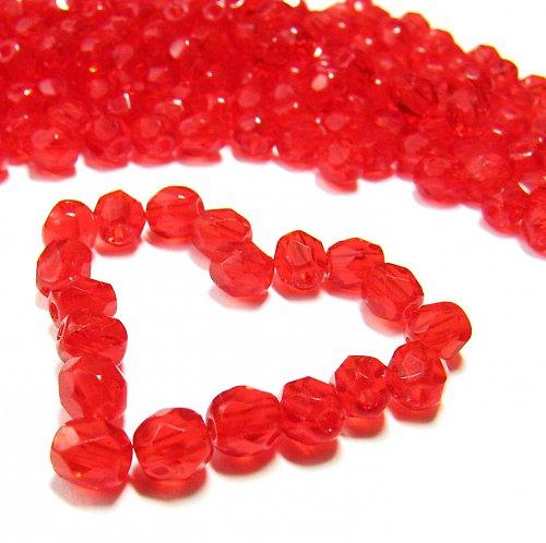 Broušené červené korálky 4mm 21 ks